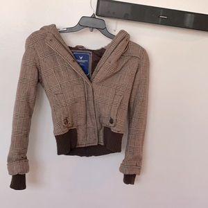 Brown Plaid fleece lined hood jacket